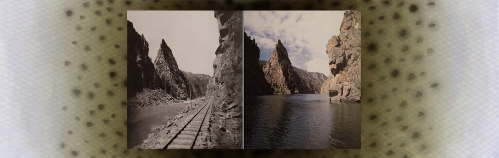The Curecanti Needle in 1883 (left) and present day (right) showing the difference before and after the flooding of the of the upper canyon.